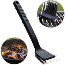 escova de aco para grelha churrasqueira com raspador + cabo plastico max clean 30x7cm