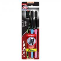 Escova Dental Colgate Slim Soft Black Macia Cores Sortidas 3 Unidades