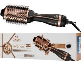 Escova Secadora E Alisadora Gama Stylish Keration 3d 1200w Brush Metálica 127V