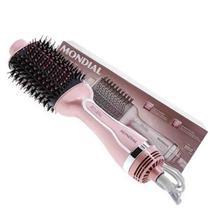 Escova secadora e alisadora mondial 1200w super leve Rosa