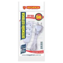 Extensão Megatron Fio Paralelo 2 x 0,75mm 5m Branca 3 Tomadas