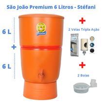 Filtro de Barro para Água São João Premium 6 Litros + 2 Velas Tripla ação + 2 Boias - Stéfani