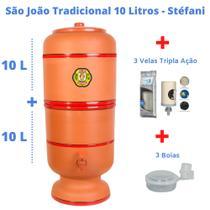 Filtro de Barro para Água São João Tradicional 10 L + 3 Velas Tripla Ação + Boias - Cerâmica Stéfani