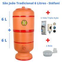 Filtro de Barro para Água São João Tradicional 6 Litros + 1 Vela Tripla Ação + Boia - Stéfani
