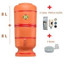 Filtro de Barro para água São Pedro 8 Litros + 2 Velas Tripla Ação e 2 Boias