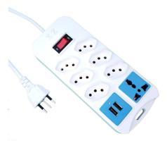 Filtro De Linha Regua 7 Tomadas 2M 110-220V Entrada USB - Ebai