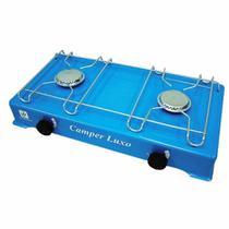 Fogão a Gás Fogareiro 2 bocas para Camping Portátil Azul