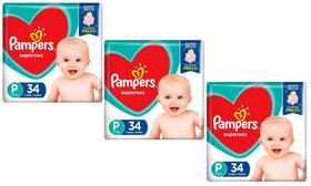 Fralda Pampers Supersec Tamanho P com 34 Fraldas - KIT 3 UNIDADES