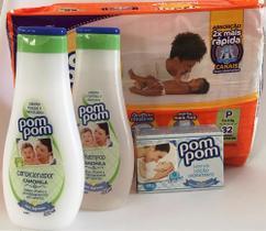 Fralda tamanho P, shampoo, condicionador e sabonete em barra. Kit chá de bebe IV.