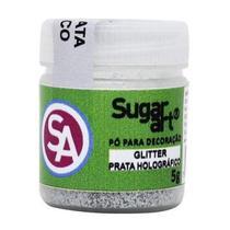 Glitter P/ Decoracao Prata Holografico 5g Sugar Art