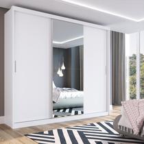 Guarda Roupa Casal 3 Portas 1 Espelho 100% MDF London Yescasa Branco