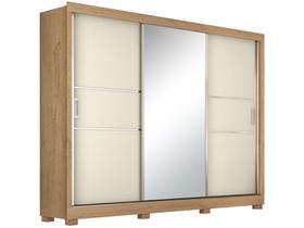 Guarda-roupa Casal com Espelho 3 Portas de Correr