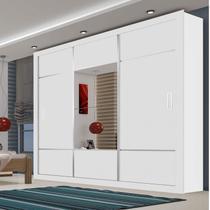 Guarda Roupa Casal com Espelho 3 Portas de Correr Lotse Espresso Móveis Branco