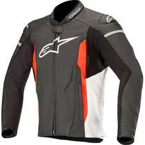 Jaqueta Alpinestars Faster Leather Preta/Branca/Vermelha (Couro)