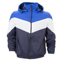 Jaqueta Corta Vento Masculina Plus Size Com Capuz Removível