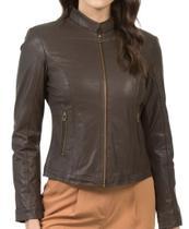 Jaqueta de couro feminina tradicional 211 marrom