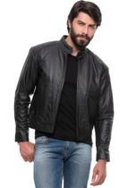 Jaqueta de Couro Masculina Motoqueiro 354 Preta