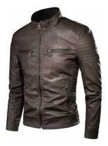 Jaqueta de couro masculina Slim fit