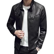 Jaqueta de couro masculina Slim fit Motoqueiro Preto Black tamanho P