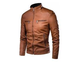 Jaqueta de couro masculina Slim fit -P