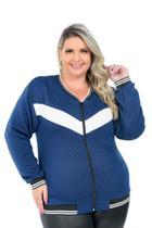 Jaqueta De Frio Matelasse Moletom Feminina Plus Size G1 A G3 Azul