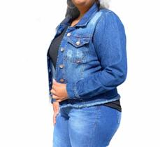 Jaqueta Jeans Cropped  Plus Size