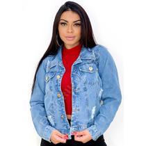 Jaqueta Jeans Feminina Curta Destroyed - EWF Jeans - Azul Claro