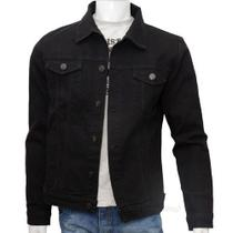 Jaqueta Jeans Masculina Preto  Premium Fit Alto Padrão