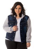 Jaqueta Jeans Moletom Feminina Plus Size