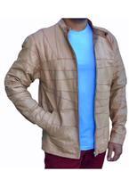 Jaqueta masculina de couro de cabra -pelica- kesck couro