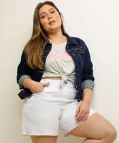 Jaqueta Plus Size Feminina Jeans Bolsos