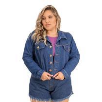 Jaqueta Plus Size Jeans Feminina Manga Longa Com Botões