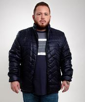 Jaqueta puffer masculina azul plus size