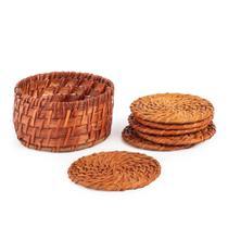 Jogo de Porta-Copos de Bambu com 7 Peças