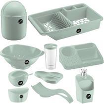 Jogo de Utensílios Para Cozinha 10 peças Com Porta Detergente Saleiro e Lixeira de Pia UZ