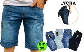 Kit 05 Bermuda Short Jeans Premium Masculino Atacado Revenda