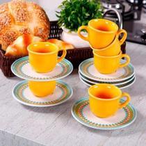 Kit 06 Xícaras Cafezinho Floreal Bilro 65ml Amarelo- Oxford