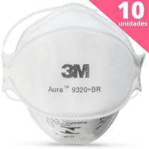 Kit 10 Máscaras Aura 3M 9320 pff2 n95 com espuma no clipe nasal - registro inmetro CA 30592