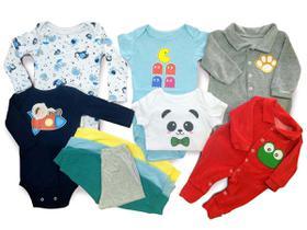 Kit 10 Pçs Body Macacão Calça Bebê Recém Nascido Meninos