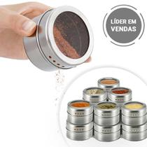 Kit 12 Potes Porta Temperos Magnético Geladeira Saleiro Inox