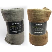 Kit 2 Cobertor Microfibra Casal Manta Coberta Corttex Home Design Antialérgico 1,80 x 2,20 m