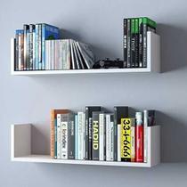 Kit 2 Prateleiras U 60cm Branco Nicho Livros - Mobes Design