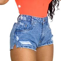 Kit 2 Shorts Bermuda Jeans Feminino Cintura Alta Destroyed Hot Pants