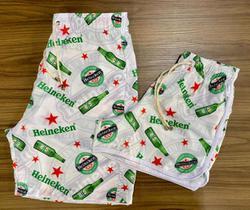 Kit 2 Shorts Namorados Casal Estampado Cerveja Praianos soltinhos calção de banho secagem rápida bebida moda praia leve