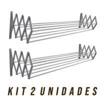 Kit 2 Varal de Parede Sanfonado em Alumínio 0,60 cm