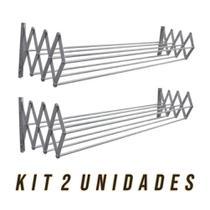 Kit 2 Varal de Parede Sanfonado em Alumínio 0,70 cm