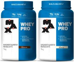 Kit 2x Pro Whey Concentrado 1kg (Total 2kg) - Max Titanium