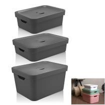 Kit 3 Caixa Organizadora Grande Cesto Com Tampa Roupa Brinquedo Plástico Cube - KTE 004 Ou