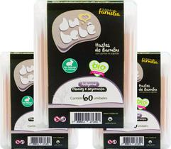 KIT 3 caixas Cotonete / HASTE Bambu DUBEBE BOX 60 Unidades