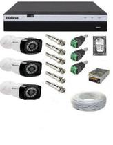 Kit 3 Câmeras De Segurança Full Hd 1080p 24 Leds Infra + Dvr Intelbras Mhdx 3104 Full Hd